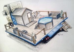 Vaihtolava sauna ja wanna kylpytynnyri